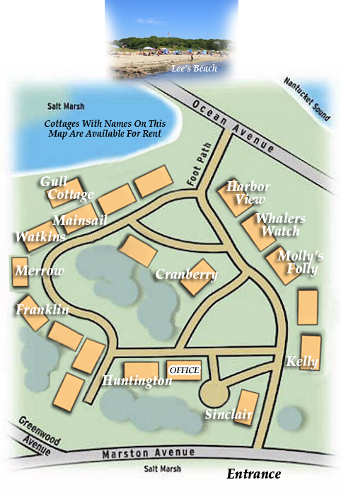 Diagram Of Our Hyannisport Massachusetts Cottages Locations